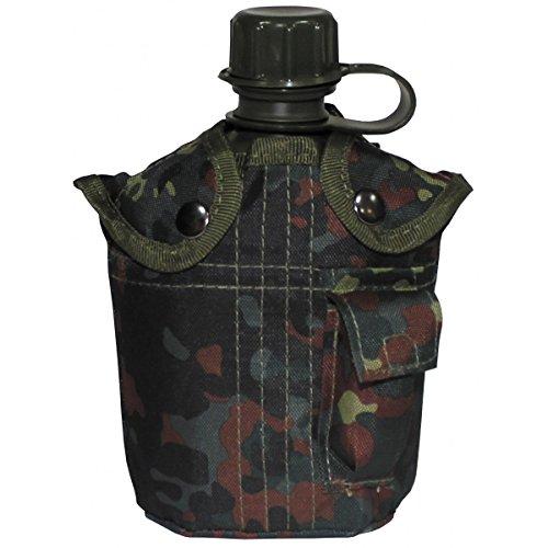 BKL1® US Plastikfeldflasche 1 L Trinkflasche mit Hülle Flecktarn Outdoor Camping wandern 1276