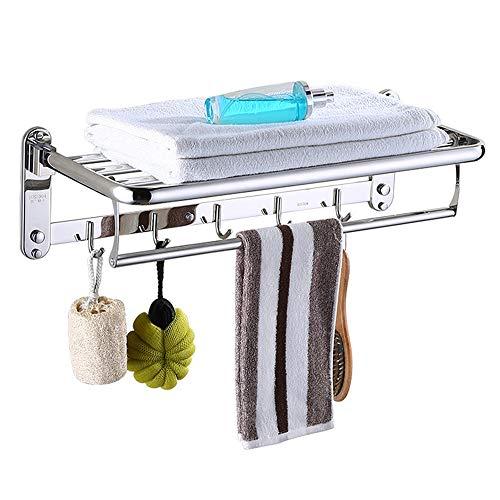 Toallero para Baño Estante de Acero Inoxidable Toalleros de Barra Toallero de Pared Estante 60CM Gancho Repisas de Toalla Plegable Towel Racks Bathroom Towels Holders Estantes Bar