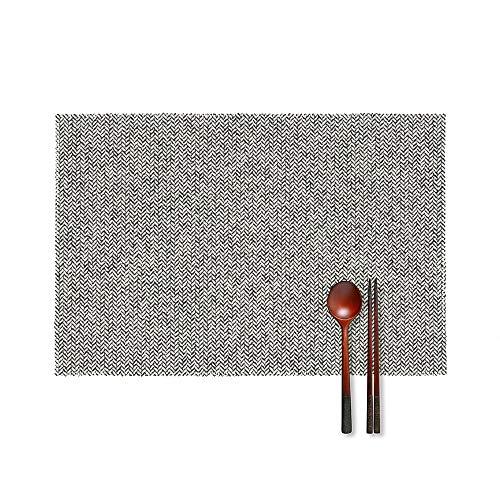 Abstract onregelmatige visgraat getextureerde patroon hittebestendige Placemats tafelmatten geweven Vinyl Placemat wasbaar voor tafels restaurants 4 stks aangepast