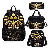 Set de juguetes Zelda Nueva mochila para niños con estampado de Zelda, mochila escolar, conjunto de mochila para adolescentes, niños, mochila escolar con lonchera, Mocila Infantil Escolar