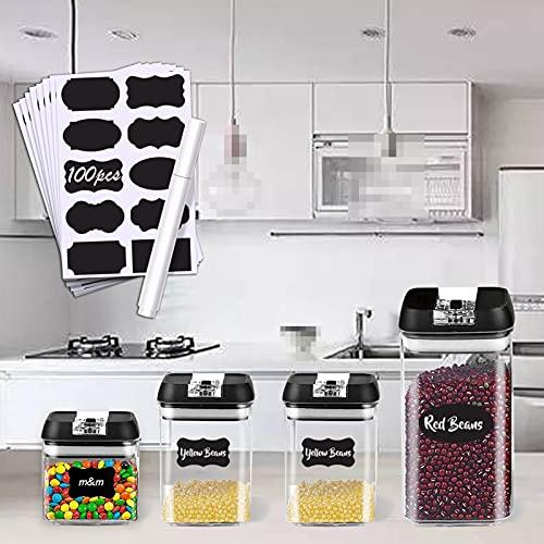 4 Piezas Juego de Recipientes Herméticos Set de Almacenamiento de Alimentos Con etiquetas y rótulos Contenedores de Alimentos Fáciles de Abrir sin BPA Seguro y Duradero Apta para lavavajillas