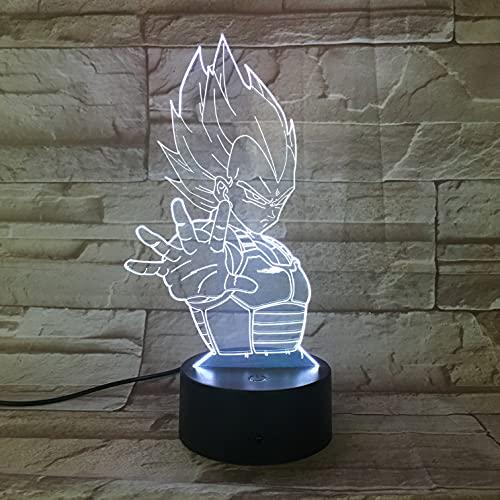 Lampe LED Manga Anime Dragon Ball Z Vegeta Changement de couleur USB Lumière nocturne et décoration