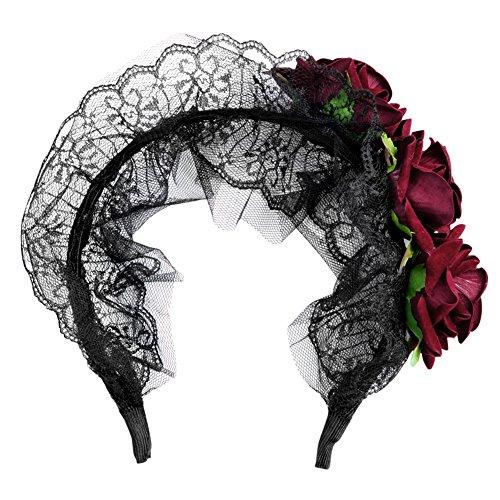 Eleery Serre Tête Femmes Bandeau Bande Cheveux Dentelle Rose Fleur Déguisement Zombie Accessoire Cosplay Halloween Toussaint Fête Sexy Party Soirée