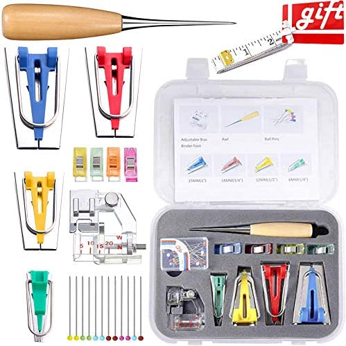Fabric Bia Tape Maker Set Neo LOONS Sewing Fabric Bias Tape Maker Tool Kit with Binder Foot product image