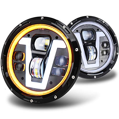 OVOTOR Jeep Headlights LED 7 inch with Halo Ring Amber Turn Signal Lights V Type White DRL Hi...