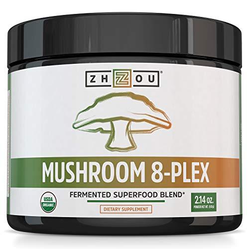 Zhou Nutrition Mushroom 8-Plex Organic Mushroom Powder for & Brain Power - Boost Immune Support, Energy, Endurance & Overall Wellness with Lion's Mane, Reishi Mushroom & Turkey Tail