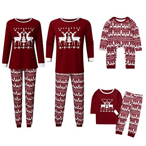 Noel Ensemble Pyjama Famille PèRe NoëL MèRe GarçOn Fille du Nouveau-Né BéBé Pyjamas à Deux PièCes Set Pull-Over à Manches Longues Top Et Pantalon VêTement De Nuit Romper Sleepsuit