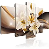 murando - Cuadro en Lienzo Flores Lirios 100x50 cm Impresión de 5 Piezas Material Tejido no Tejido Impresión Artística Imagen Gráfica Decoracion de Pared Naturaleza Abstracto b-A-0251-b-n