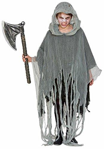 Fyasa 706436 Poncho Zombie Kinder-Kostüm, mehrfarbig, Größe M
