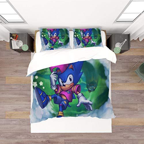 Ruitorly bettwäsche 155x220cm,Sonic Bettwäsche Set Sonic The Hedgehog Bettbezug und 50x75cm Kissenbezug,Der weiche und Bequeme Kinderbettbezug umfasst Bettbezug und Kissenbezüge,#6,3D Bettwäsche