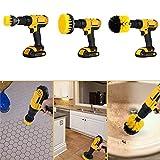 TWOBEE 3 Pedazos/Sistema de Cepillo Taladro eléctrico rejuntado Cepillo de Limpieza lavador eléctrico, eléctrico Accesorio de Cepillo de fregado (Amarillo 2/3,5/5 Pulgadas)
