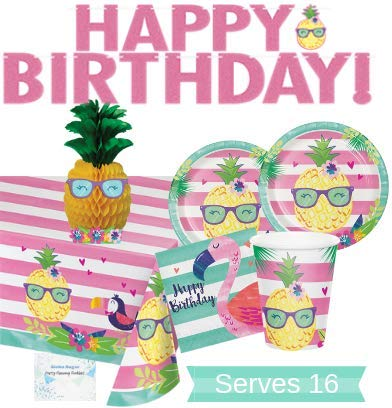 Pineapple Party Supplies and Decorations - Pineapple Party Plates and Napkins Cups for 16 People - Includes Pineapple Birthday Banner, Tablecloth and Centerpiece - Perfect Pineapple Flamingo Birthday Party Decorations and Pineapple Flamingo Birthday Party Supplies!