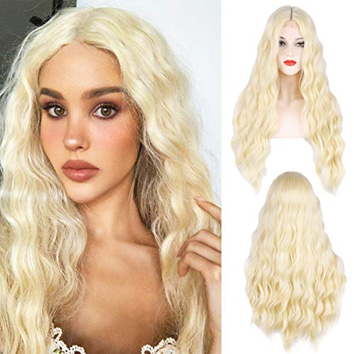 Long Blonde Wig for Women Blonde Wigs Small Lace Synthetic Natural Looking Part Wavy Goddess Wig (613#673HT)