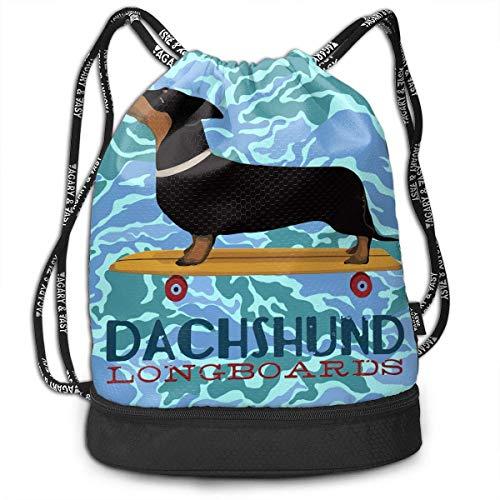 Ya Yi Feng Funny Daschund Dog Skateboard Drawstring Backpack Rucksack Sports Gym Cinch Sack Bag for Kids Gym Shoulder Bags Umhängetaschen