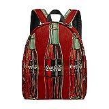 Mochila para niños, estilo vintage, con botella de coca cola, bolsa de escuela para niños y niñas, ligera, bolsa de hombro duradera, mochila de viaje con bolsillo para botella de agua