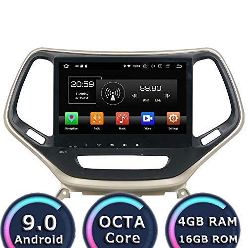 ROADYAKO 10,1 Pouces Android 8.1 Quad Core pour Jeep Cherokee 2015 2016 2017 Autoradio Stéréo avec Navigation GPS 3G WiFi Lien Miroir RDS FM AM Bluetooth AUX Multimédia Audio Vidéo