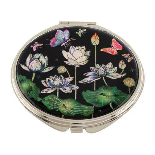 Handtaschenspiegel Rund Taschenspiegel Lotus Lotusblüten Blumen Makeup Metall Schminkspiegel Edelstahl