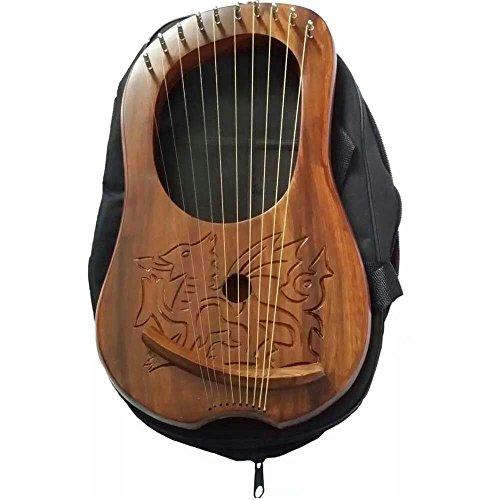 Gloednieuwe Lyre Harp Gegraveerd Keltische Welsh Draak/Lyra Harp Sheesham Hout Draak