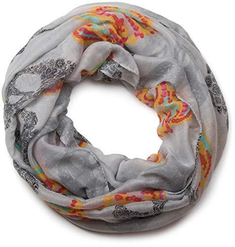 styleBREAKER Loop Schlauchschal im Mexico Style mit Totenkopf Skull Muster, Schal, Tuch, Damen 01018055, Farbe:Grau