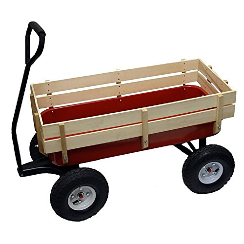 Save %50 Now! 1st Web Sales All Terrain Wagon Big Wheel Garden Red Steel Full Size Wood Cargo Sides Kids Childrens