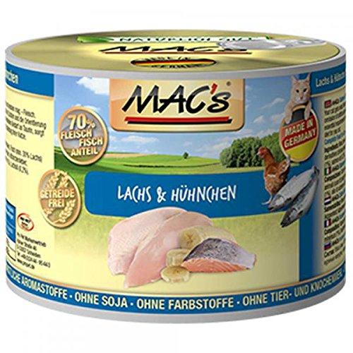 MACs Cat Lachs & Hühnchen | 6x 200g Katzenfutter nass getreidefrei