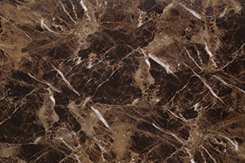 (Marrón, Paquete de 1) Papel tapiz de mural autoadhesivo con acabado brillante y patrón de granito con efecto mármol. 61cm X 2M (24