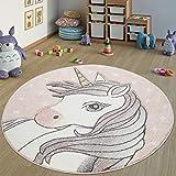 Paco Home Alfombra Infantil Dormitorio Redonda Niña Dibujo Unicornio Moderna En Rosa, tamaño:Ø 120 cm Redondo