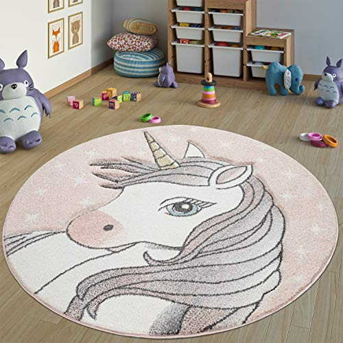Paco Home Teppich Kinderzimmer Rund Kinderteppich Mädchen Einhorn Motiv, Modern In Pink, Grösse:Ø 160 cm Rund