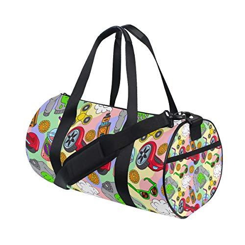 MIGAGA Gym Bag,Sport Bag Hoverboard Fidget Spinner Vape Ecigarettes Smoothie,New Canvas Print Bucket Sports Bag Fitness Bags Travel Duffel Luggage Handbag