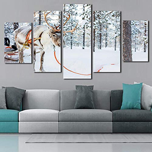 Canvas Painting Poster Wall Artwork Living Room Printed 5 Panel Snow Reindeer Landscape Modern HD Home Decor Pictures