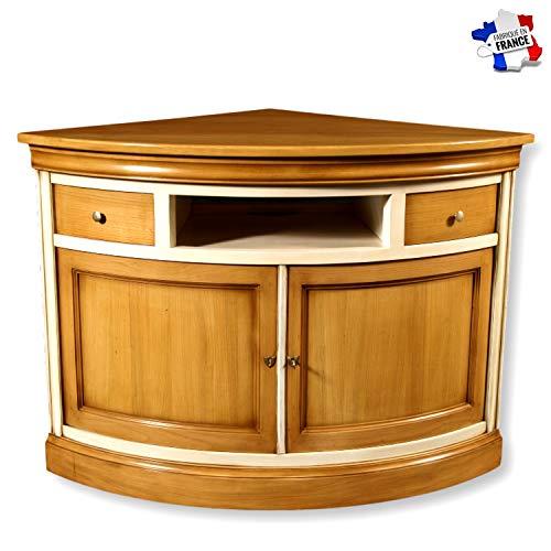 GONTIER Tv-hoekkast – verzinkt – massief kersenhout – collectie Flaubert – 100% gemaakt in Frankrijk. 85x85x85 Merisier Fumé et Laque Blanc-crème