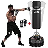 Dripex Freestanding Punching Bag 70''-182lbs with Boxing Gloves Heavy Boxing Bag with Suction Cup Base for Adult Youth Kids - Men Stand Kickboxing Bag for Home Office