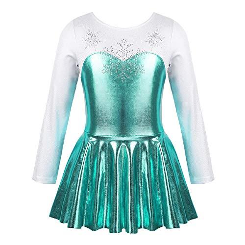 TiaoBug Maillot Patinaje Artístico Niña Manga Larga Vestido de Danza Ballet Niña Impresión Copo de Nieve Maillot de Gimnasia Rítmica Niña 3-10 Años Lago Azul 3 Años