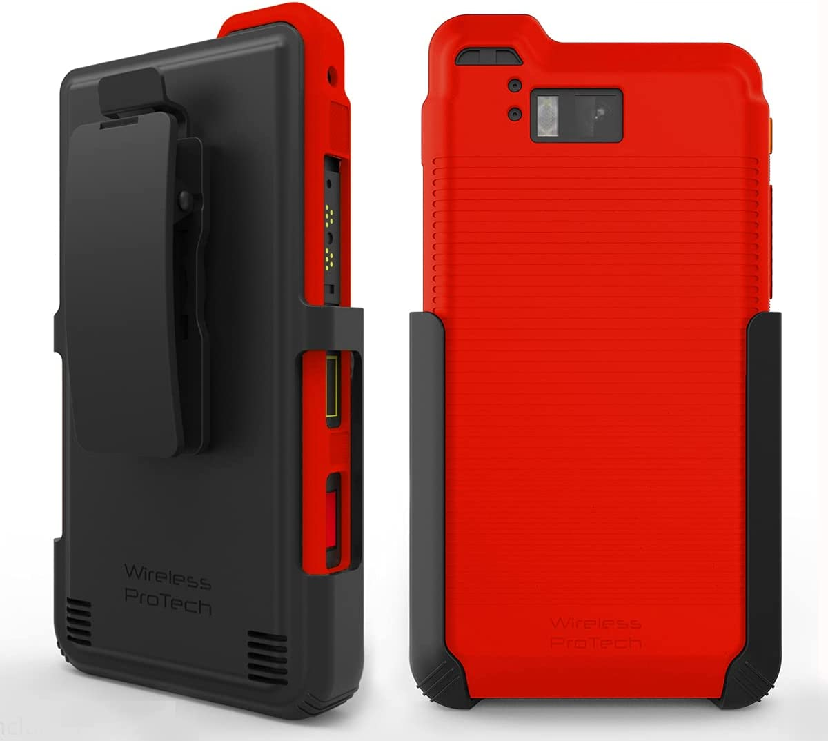 Wireless ProTech Case with Clip Compatible with Sonim XP8 Phone Model XP8800. Heavy Duty Rotating Belt Clip Holster and Durable Flexible Protective Case Combo (Red)