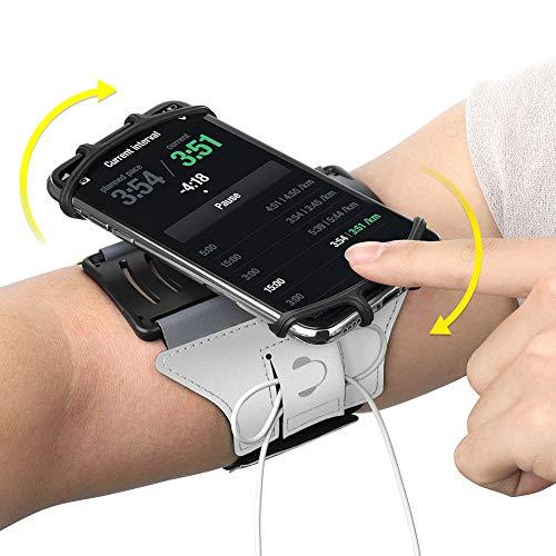 AONKEY Universal Laufendes Armband für iPhone XS XR X 7 8 6 6S Plus, Galaxy S8 S9 J7 J3, Google Pixel & LG V20 V30 G6 K20 G5 Stylo Aristo, HTC U11, Moto G5 Kompatibel mit Handytasche (Silber)
