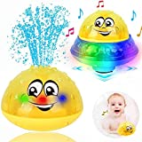 ZWOOS Juguetes de baño para bebés - 2 en 1 Juguete Bañera con Sensor de Agua - Juguetes Agua con Luz - Juguetes Piscina Bebe - Juguete para baño Bebe (Amarillo)