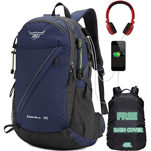 40L Wanderrucksack – wasserabweisender Reiserucksack mit Regenschutz Camping Rucksack mit USB-Anschluss Outdoor Bergsteigen Trekking Rucksack für Damen und Herren (Marine)