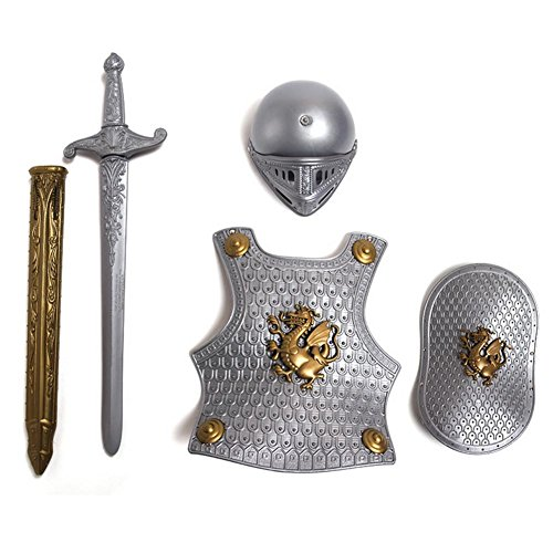 chifans Disfraz Infantil de Caballero Medieval, Disfraz de Caballero de niños, Casco, Espada, Escudo, Placa de Pecho Disponible en Bronce o Plata Accesorio de Disfraz