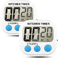 timer da cucina digitale, 2 pezzi sveglia da cucina digitale orologio da cucina timer da cucina timer da cucina timer corto con ampio display lcd e allarme forte e magnete con interruttore