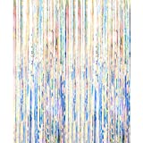 Asunflower 6.5Ft Metallic Tinsel Curtains Rainbow Foil Fringe Curtains Christmas Hanging Streamers for Party/Prom/Birthday Favors