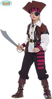 Guirca-Disfraz Pirata de los Siete Mares, caribeño, niño 7 – 9 años, Multicolor, 85372