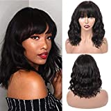 Flequillo Postizo Mujer Rizado Perfectos Humano no Lace Riza Pelos Natural Larga Mujer Pelucas Afro Human Hair Wigs with Bangs with PU Fake Scalp body wavy curly(16inch/40cm)