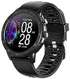 jpantech Smartwatch, Fitness Tracker Sport Ambanduhr Smart Watch mit Facebook, Twitter, Whatsapp, Skype-Benachrichtigung kompatibles IOS & Android für Herren Damen(Schwarz)