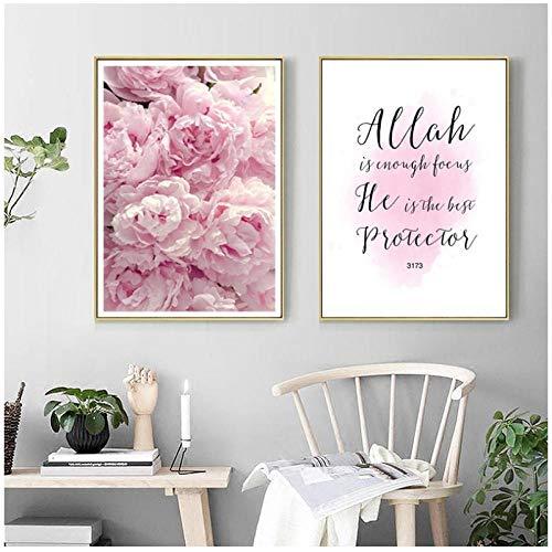 xwlljkcz 2 Stück Moderne Allah Islamische Wandkunst Rosa Pfingstrose Blume Leinwand Malerei Poster Drucke Islam Muslimischen Bilder Wohnzimmer Wohnkultur 50x70 cm kein Rahmen