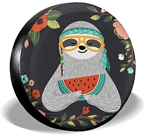 Tribal Watermelon Sloth - Cubierta para llanta de repuesto,poliéster,universal,de 14 pulgadas,para llantas de repuesto para remolques,casas rodantes,SUV,ruedas de camiones,camiones,autocaravanas,acce