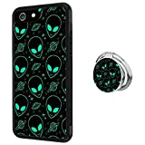 iPhone 6s 6 Case with Holder Ring Alien Soft Black TPU Rubber and PC Anti-Slip Grip Cover Case, Shockproof Defend Protective Phone Case for iPhone 6s 6