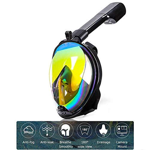 DXQDXQ Robuste Tauchmaske Vollgesichtsmaske, Vollmaske Schnorchelmaske mit 180° Sichtfeld, Anti-Beschlag Wasserdicht Anti-Leck Technologie, für Erwachsene und Kinder Wasser (Color : Black)