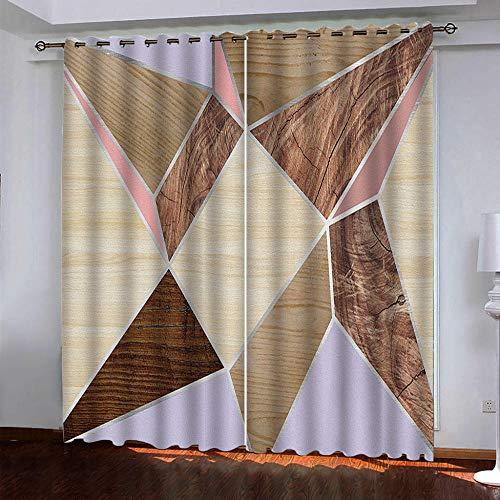 IZYLWZ Cortinas Opacas de Salón Dormitorio Infantil Moderno Aislantes Veta de Madera geométrica Tridimensional 3D con Ojales 2 Paneles 280x260cm Cortinas Aislantes Térmicas Decoración