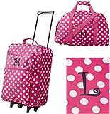 Girls' 3-Piece Monogram Luggage Set - Pink Polka Dots - Monogram Letter L