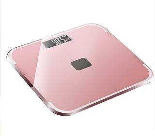 Báscula digital de baño/Báscula electrónica de pesaje Energía solar: alta precisión, pantalla LCD retroiluminada, diseño delgado e inteligente,Rosado